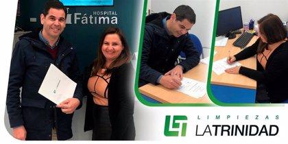 Limpiezas la Trinidad y Hospital Fátima firman un acuerdo de colaboración por la limpieza ecológica