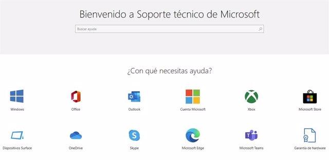 Página de soporte técnico de Microsoft