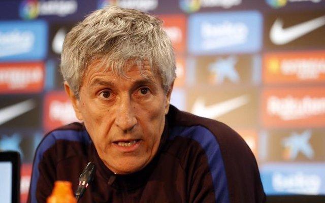 L'entrenador del Barça, Quique Setién, en roda de premsa (Arxiu)