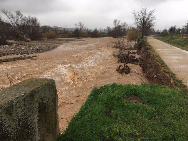 El riu Congost al seu pas per Granollers el dimecres 22 de gener del 2020