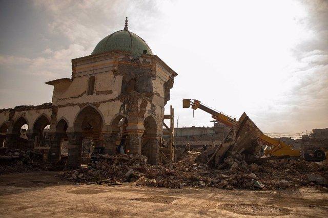 Trabajos de rehabilitación de la Gran Mezquita al Nuri de Mosul, en el marco de un proyecto impulsado por la UNESCO