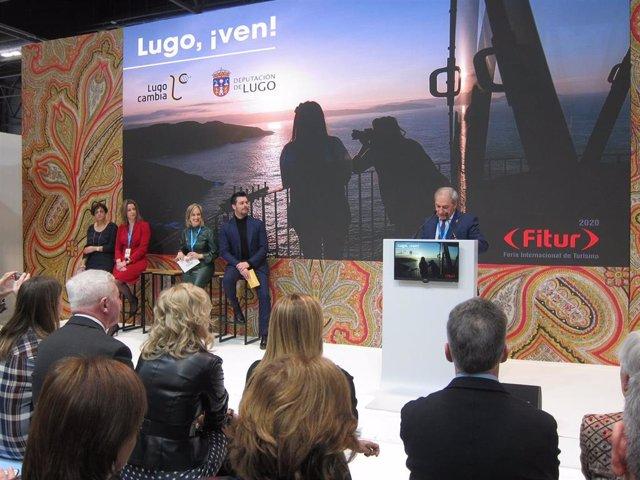 El presidente de la Diputación de Lugo, José Tomé, durante su intervención en la presentación de la provincia en Fitur