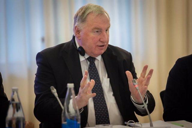 El president del Comitè de les Regions, Karl-Heinz Lambertz , durant la seva intervenció en l'acte d'obertura de l'Assemblea Regional i Local Euromediterrània, a Barcelona /Catalunya (Espanya), a 23 de gener del 2020.