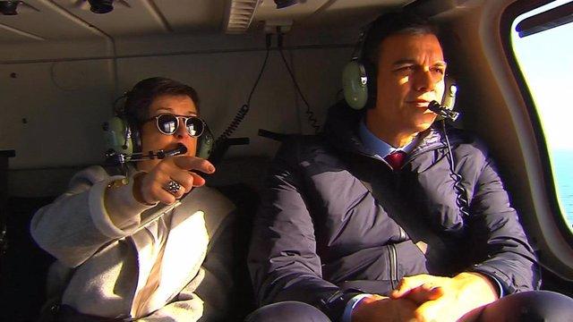 Imágenes del presidente del Gobierno, Pedro Sánchez, que ha cogido un helicóptero en el Aeropuerto de El Prat para sobrevolar la zona de Cataluña afectada por el temporal 'Gloria'.