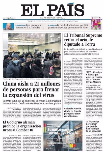 Las portadas de los periódicos del viernes 24 de enero de 2020