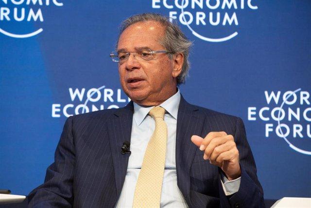 El ministro de Economía de Brasil, Paulo Guedes, durante su intervención en el Foro Económico Mundial de Davos (2020).