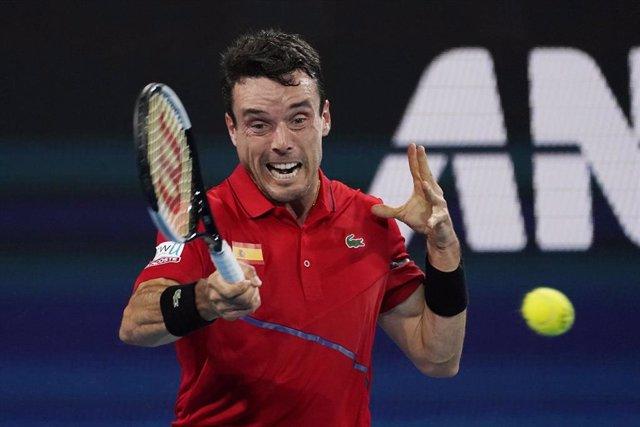 Roberto Bautista, durante la final de la ATP Cup.