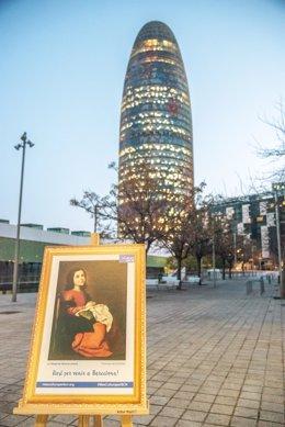 Una de les rèpliques de quadres que s'han col·locat a Barcelona el 24 de febrer del 2020.