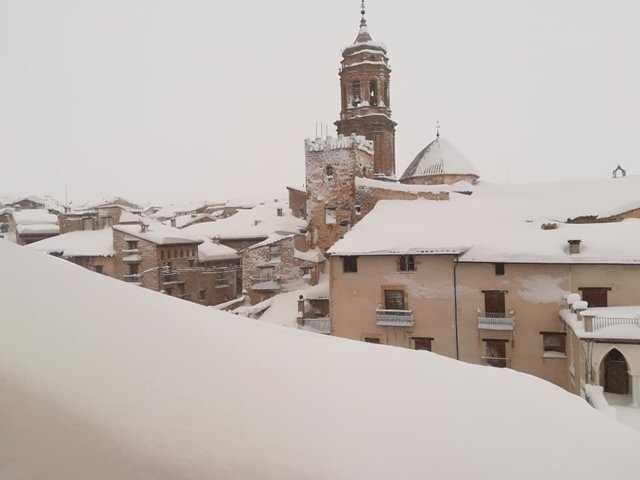 La Iglesuela del Cid (Teruel) tras la borrasca 'Gloria'