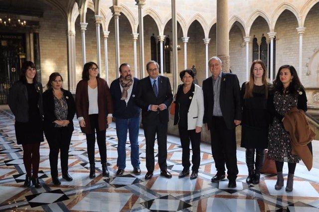 El presidente de la Generalitat, Quim Torra, con eurodiputados