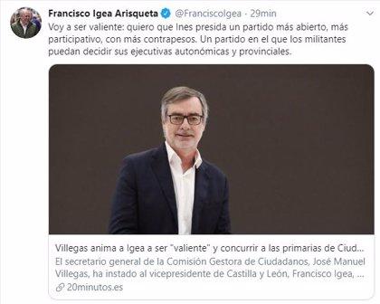 """Igea, tras las palabras de Villegas: """"Voy a ser valiente, quiero que Inés presida un partido más abierto"""""""