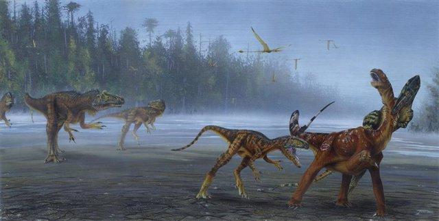 Un alosauro jimmadseni ataca a un sauropodo juvenil