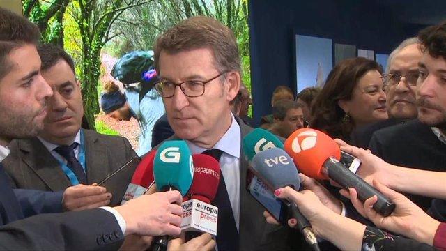 El presidente de la Xunta de Galicia, Alberto Nuñez Feijóo, durante su visita en Fitur.