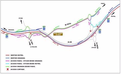 Comienza la segunda fase de los trabajos en la unión de la Segunda Circunvalación con la A-44 en Alhendín (Granada)