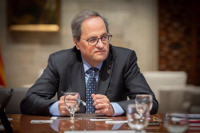 El president de la Generalitat, Quim Torra, durant la reunió del Govern amb motiu del temporal Gloria, a Barcelona (Catalunya), 24 de gener del 2020.