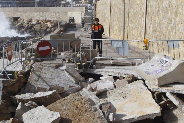 Un agent de Protecció Civil a una zona afectada per la borrasca Gloria, a un port de Mallorca (Illes Balears), 23 de gener del 2020.