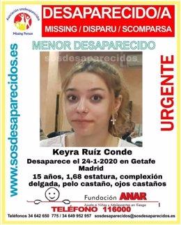 Keyra Ruíz Conde, adolescente desaparecida en Getafe