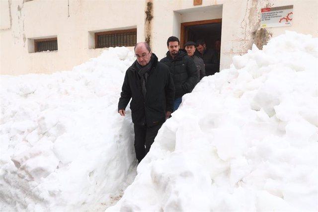 Visita de Javier Lambán a las zonas afectadas por la borrasca Gloria.