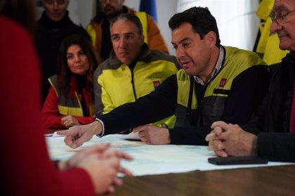 Moreno destaca la coordinación entre la Junta y otras administraciones ante la lluvia en Málaga