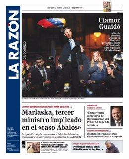 Portada del periódico La Razón del domigno, 26 de enero.