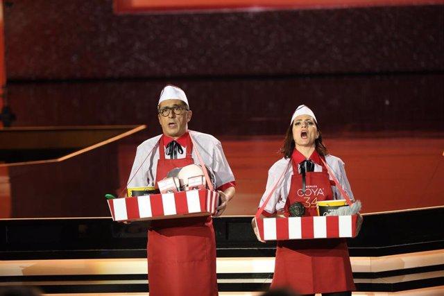 Los presentadores Andreu Buenafuente y Silvia Abril, durante la gala de entrega de los Premios Goya 2020 en Málaga (Andalucía, España), a 25 de enero de 2020.