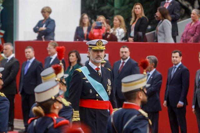 El rey Felipe VI en el desfile militar por el Día de la Fiesta Nacional el 12 de octubre de 2019