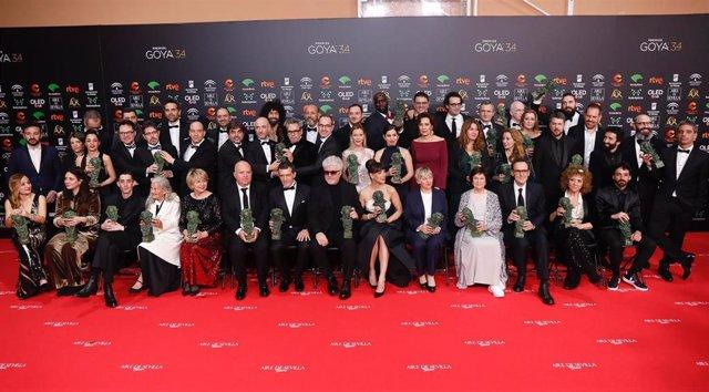 Foto de famialia de todos los premiados de la XXXIV edición de los Premios Goya, en Málaga (Andalucía, España), a 25 de enero de 2020.