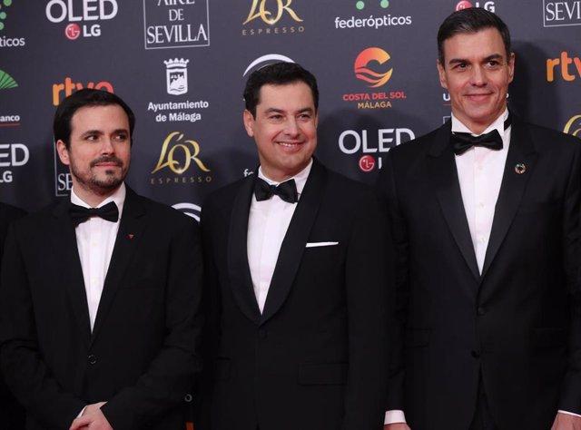 Alberto Garzón, Juanma Moreno y Pedro Sánchez en los Premios Goya
