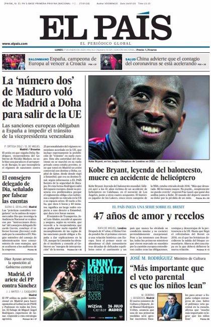 Las portadas de los periódicos del lunes 27 de enero de 2020