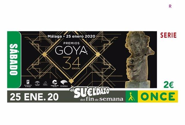 Cupón de la ONCE dedicado a los Premios Goya