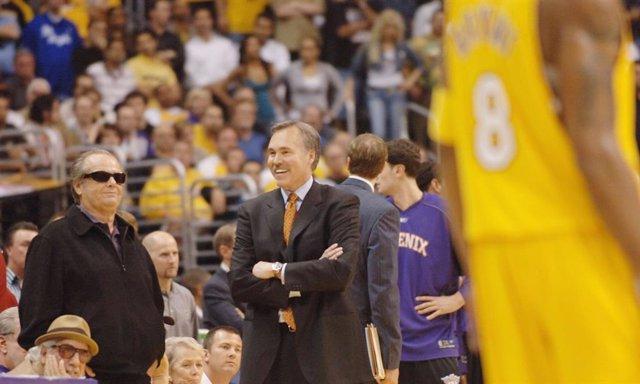Jack Nicholson en un partido de los Lakers