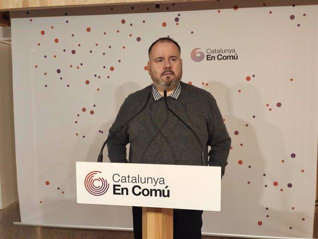 El portaveu de CatComú, Joan Mena, en roda de premsa, el 27 de gener del 2020.