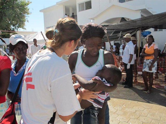Imagen de archivo del brote de cólera en Haití.