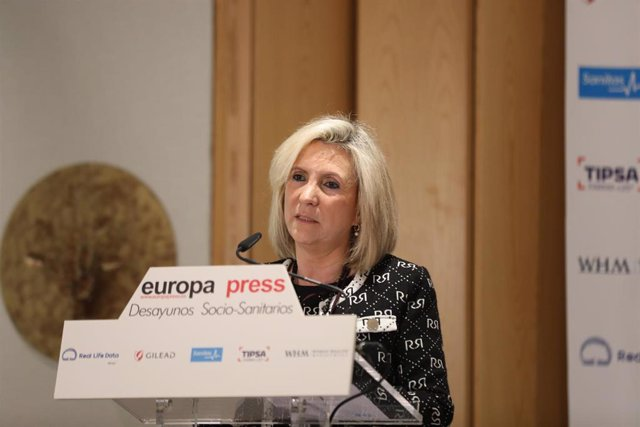 La consejera de Sanidad de la Junta de Castilla y León, Verónica Casado, durante su intervención en un desayuno socio-sanitario de Europa Press, en Madrid (España), a 27 de enero de 2020.