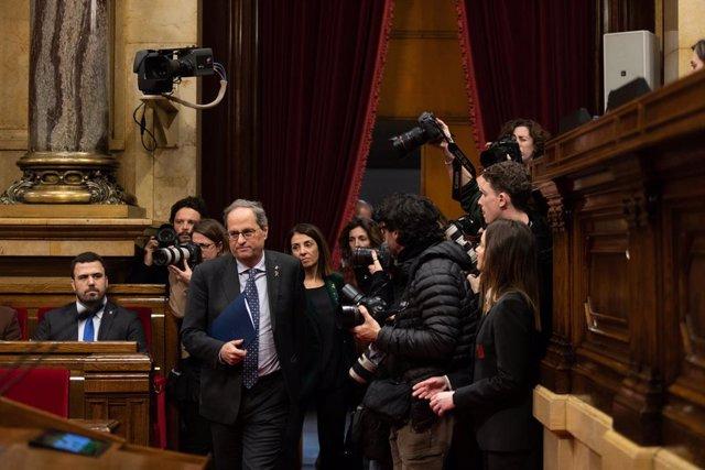 El president de la Generalitat, Quim Torra, en el ple del Parlament, 27 de gener del 2020.