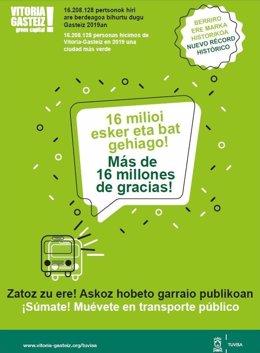 Más de 16 millones de personas utilizaron los autobuses urbanos de Vitoria durante el 2019