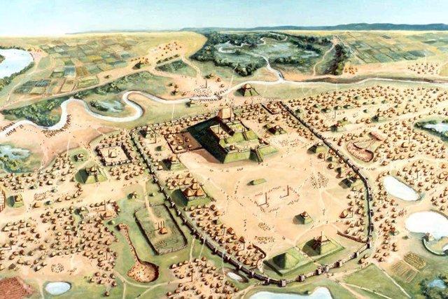 Recreación de la ciudad precolombina de Cahokia, junto al Mississipi