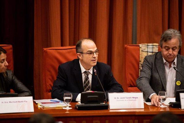 L'exconseller de la Presidència de la Generalitat i pres del procés, Jordi Turull, declara davant la comissió d'investigació de l'aplicació del 155 a Catalunya, Barcelona /Catalunya, 28 de gener del 2020.