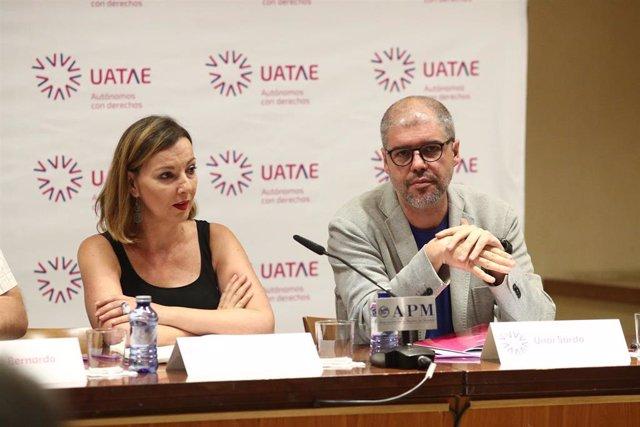 La secretaria general de Uatae, María José Landaburu, y el secretario general de CC.OO., Unai Sordo, presentan una propuesta de Uatae para que los autónomos coticen de manera más justa
