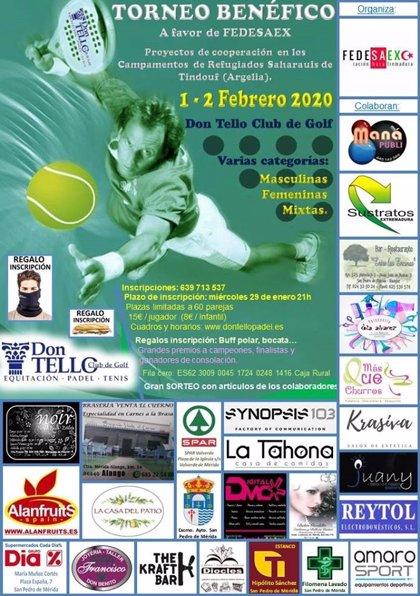 La Federación Sáhara Extremadura organiza un torneo de pádel solidario con el pueblo saharaui el fin de semana en Mérida
