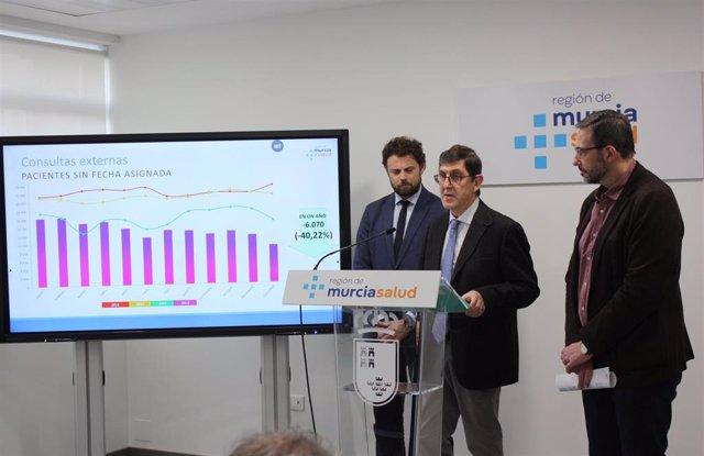 El consejero de Salud, Manuel Villegas, presentó hoy los indicadores de listas de espera a diciembre de 2019