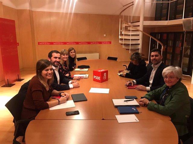 Representantes del grupo parlamentario socialista se reunen en el Congreso con el presidente de la Asociación de Futbolistas Españoles (AFE), David Aganzo, y la presodenta del Comité de Futbol Femenino, Fe Robles