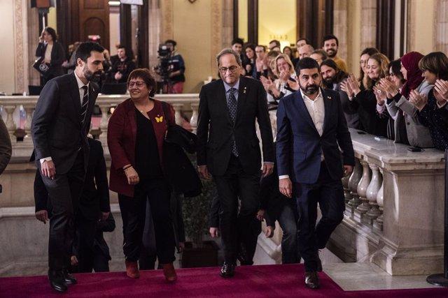 (E-D) El president del Parlament, Roger Torrent; l'exconsellera i presa del procés, Dolors Bassa; el president de la Generalitat, Quim Torra, i el conseller de Treball, Chakir el Homrani.