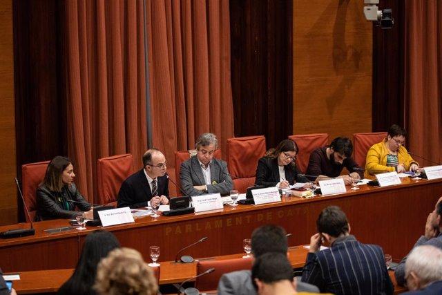 L'exconseller de la Presidència de la Generalitat, Jordi Turull (2E), declara davant la comissió d'investigació de l'aplicació del 155 a Catalunya, Barcelona /Catalunya, 28 de gener del 2020.