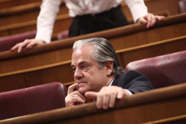 El diputado de Ciudadanos, Marcos de Quinto, en su escaño en el Congreso.