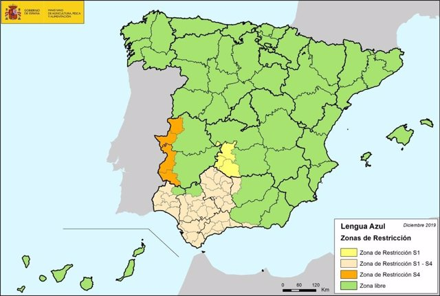 Mapa sobre incidencia de 'lengua azul'