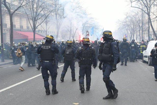 Manifestación de bomberos en París