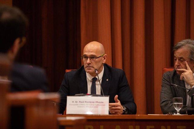Raül Romeva declara davant la Comissió d'Investigació de l'aplicació del 155 a Catalunya, a Barcelona (Catalunya), 28 de gener del 2020.