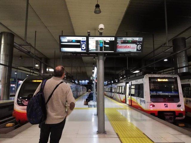 Un hombre consulta los horarios de tren en la Estación Intermodal de Palma.
