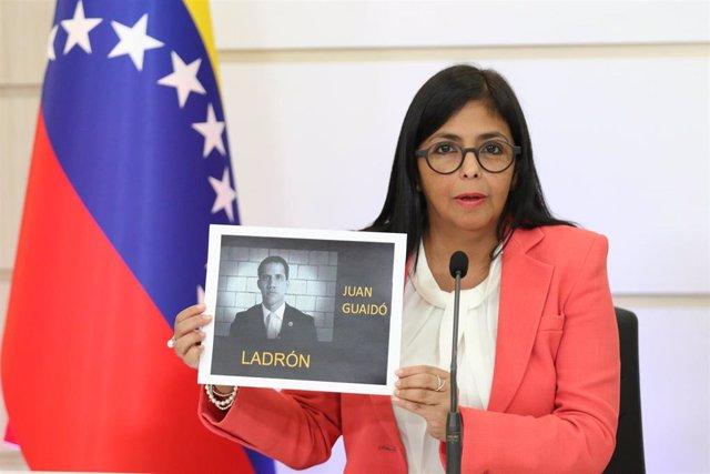 Delcy Rodríguez en una comparecencia en Caracas